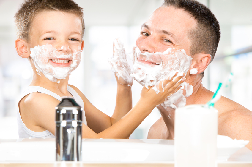 baby shaves with dad